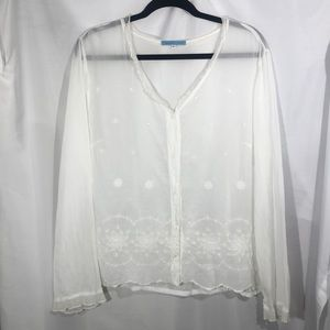 Johnny Was Tops - Johnny Was Embroidered Blouse with Eyelet Details